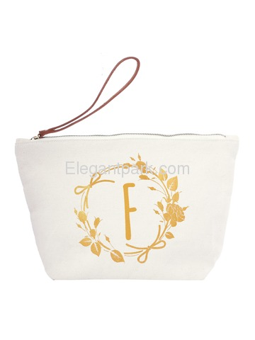 ElegantPark F Initial Monogram Makeup Cosmetic Bag Wristlet Pouch Gift with Bottom Zip Canvas