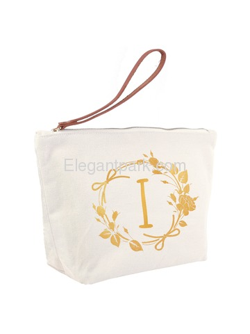 ElegantPark I Initial Monogram Makeup Cosmetic Bag Wristlet Pouch Gift with Bottom Zip Canvas