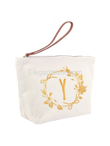 ElegantPark Y Initial Monogram Makeup Cosmetic Bag Wristlet Pouch Gift with Bottom Zip Canvas