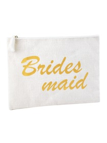 ElegantPark Bridesmaid Clutch Bag Wedding Bridal Shower Gift Handbag Zip White with Gold Script 100%