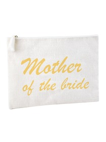ElegantPark Mother of the Bride Clutch Bag Wedding Party Favors Gift Handbag Zip White with Gold Scr
