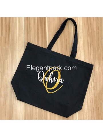 Monogram Initial Q Personalized Tote Shoulder Bag Black with Gold Glitter 100% Cotton