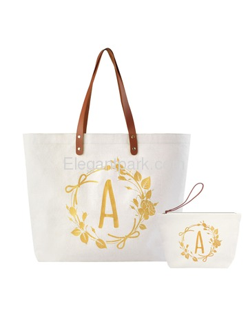 ElegantPark A Initial Personalized Gift Monogram Tote Bag + Makeup Cosmetic Bag with Zipper Canvas