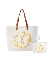 ElegantPark K Initial Personalized Gift Monogram Tote Bag + Makeup Cosmetic Bag with Zipper Canvas