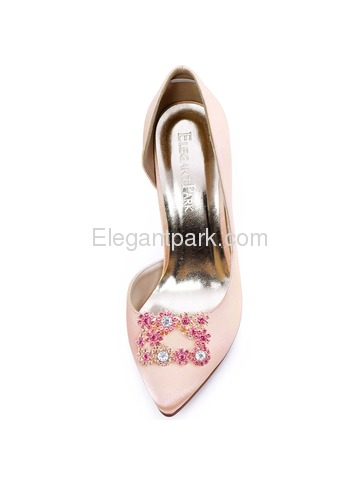 ElegantPark Silver Pink Rhinestones Shoe Clips Square Buckle Design Wedding Party Accessories 2 Pcs