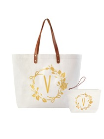 ElegantPark V Initial Personalized Gift Monogram Tote Bag + Makeup Cosmetic Bag with Zipper Canvas