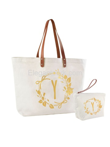 ElegantPark Y Initial Personalized Gift Monogram Tote Bag + Makeup Cosmetic Bag with Zipper Canvas