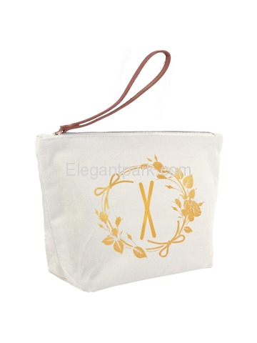 ElegantPark X Initial Monogram Personalized Travel Makeup Cosmetic Bag Wristlet Pouch Gifts with Zip
