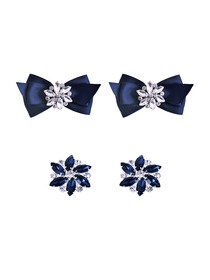 ElegantPark 2 Pairs Combination Women Wedding Accessories CQ+AJ Navy Blue Shoes clips