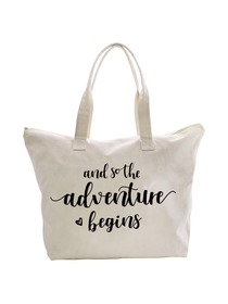 And So the Adventure Begins Wedding Bride Tote Bridal Shower Gift Travel Shoulder Bag Canvas Cotton