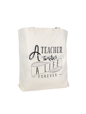 ElegantPark A Teacher Touches a Life Forever Canvas Tote Bag Cotton Shoulder Bag for Teacher
