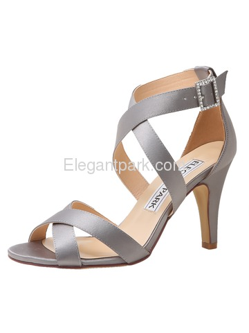 HP1705 Peep Toe High Heels Ankle Straps Buckles Satin Evening Party Prom Sandals (HP1705)