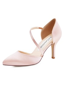 HC1711 Women Sandals Strap Pointed Toe High Heel Pumps Satin Evening Wedding Shoes