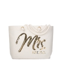 Bride Jumbo Tote Bag Wedding Bridal Shower Gifts Future Mrs Est 2021 Jute Interior Pocket Gold