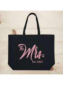 ElegantPark The Mrs EST 2019 Jumbo Wedding Bride Tote Bridal Shower Gift Shoulder Bag Black with Ro