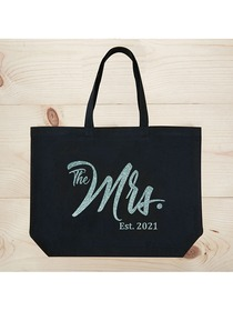 ElegantPark The Mrs EST 2019 Jumbo Wedding Bride Tote Bridal Shower Gift Shoulder Bag Black with Aq