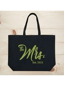 ElegantPark The Mrs EST 2019 Jumbo Wedding Bride Tote Bridal Shower Gift Shoulder Bag Black with Gr