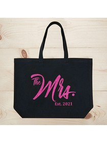 ElegantPark The Mrs EST 2019 Jumbo Wedding Bride Tote Bridal Shower Gift Shoulder Bag Black with Ho
