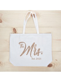 ElegantPark The Mrs EST 2020 Jumbo Wedding Bride Tote Bachelorette Party Gift Shoulder Bag White wi