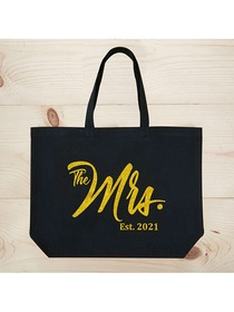 ElegantPark The Mrs EST 2019 Jumbo Wedding Bride Tote Bridal Shower Gift Black Shoulder Bag with Go